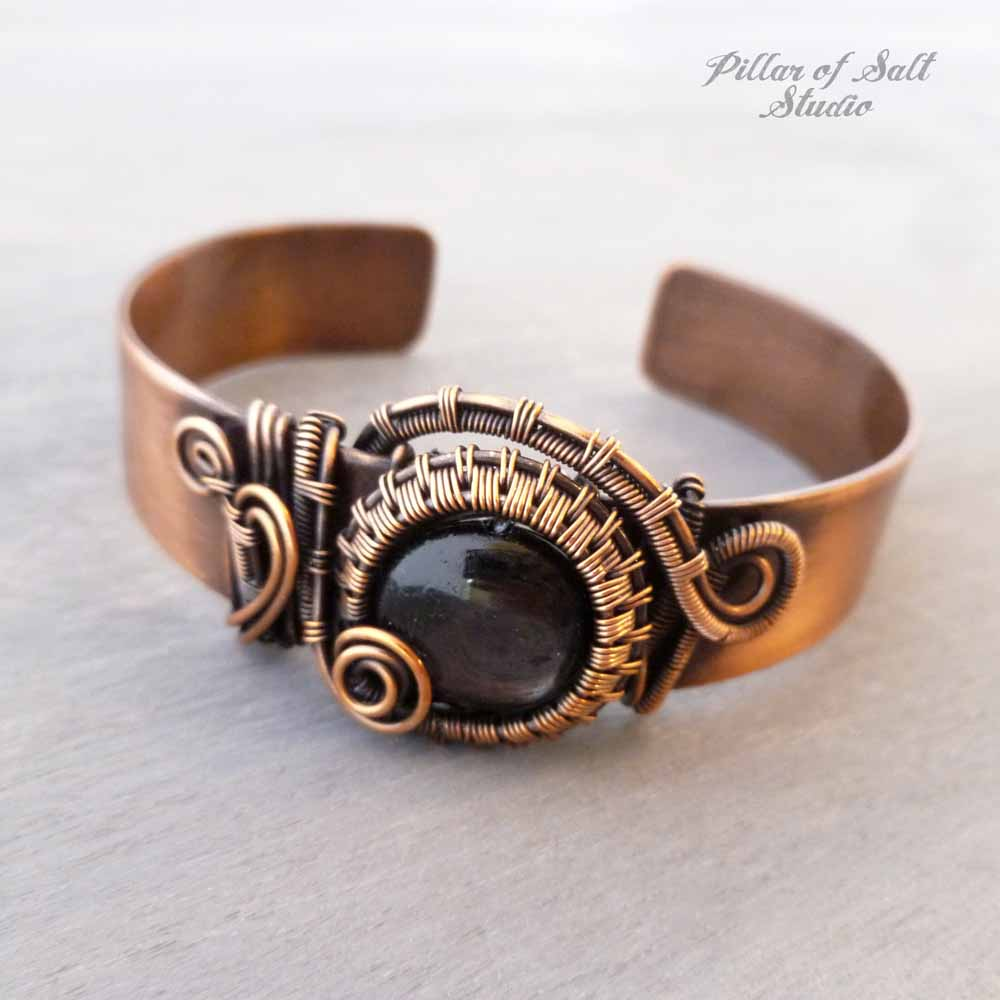 "Hypersthene copper wire wrapped 1/2"" cuff bracelet by Pillar of Salt Studio"