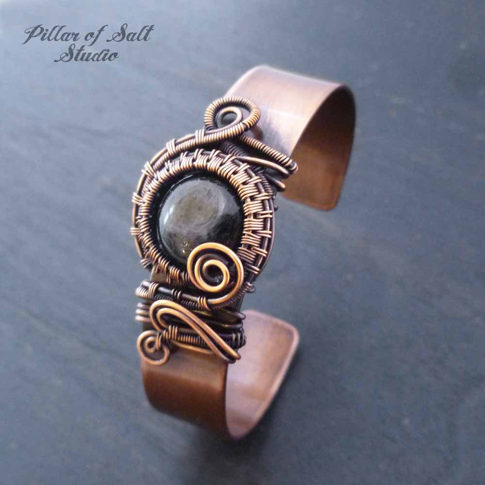 Copper Cuff Bracelet wire wrapped Hypersthene stone by Pillar of Salt Studio