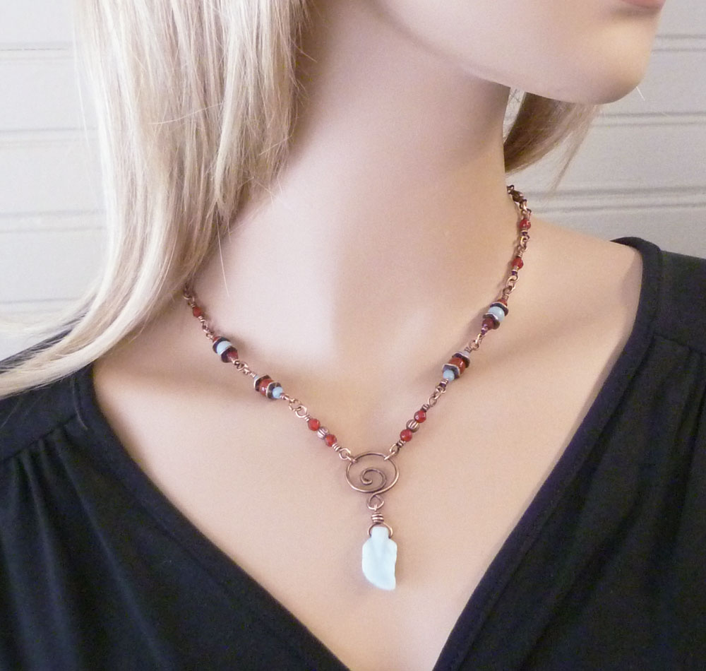 "Shown worn at 18"" length. Amazonite and Carnelian copper wire wrapped necklace by Pillar of Salt Studio"