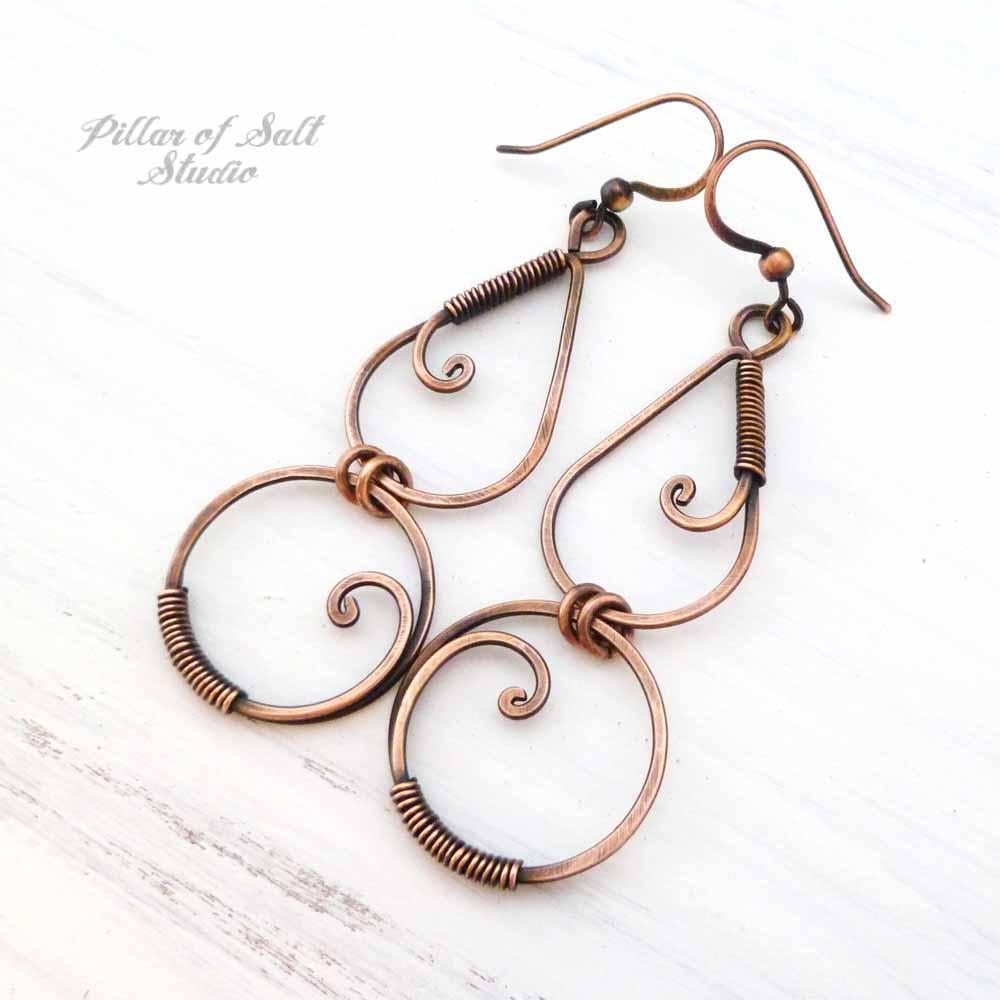 long copper earrings wire wrapped jewelry by Pillar of Salt Studio