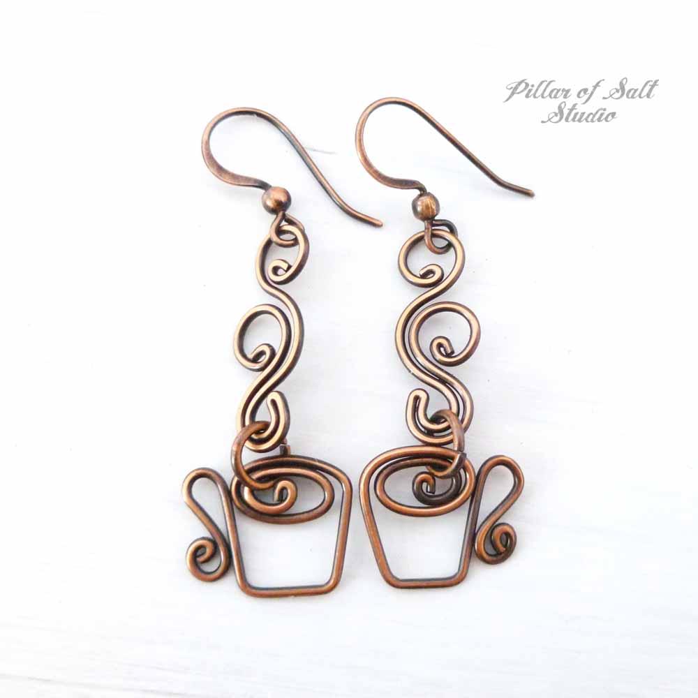 Coffee mug earrings in copper by Pillar of Salt Studio