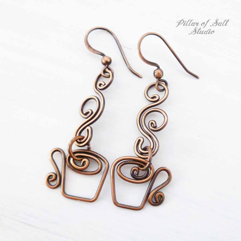 Coffee cup earrings in copper by Pillar of Salt Studio