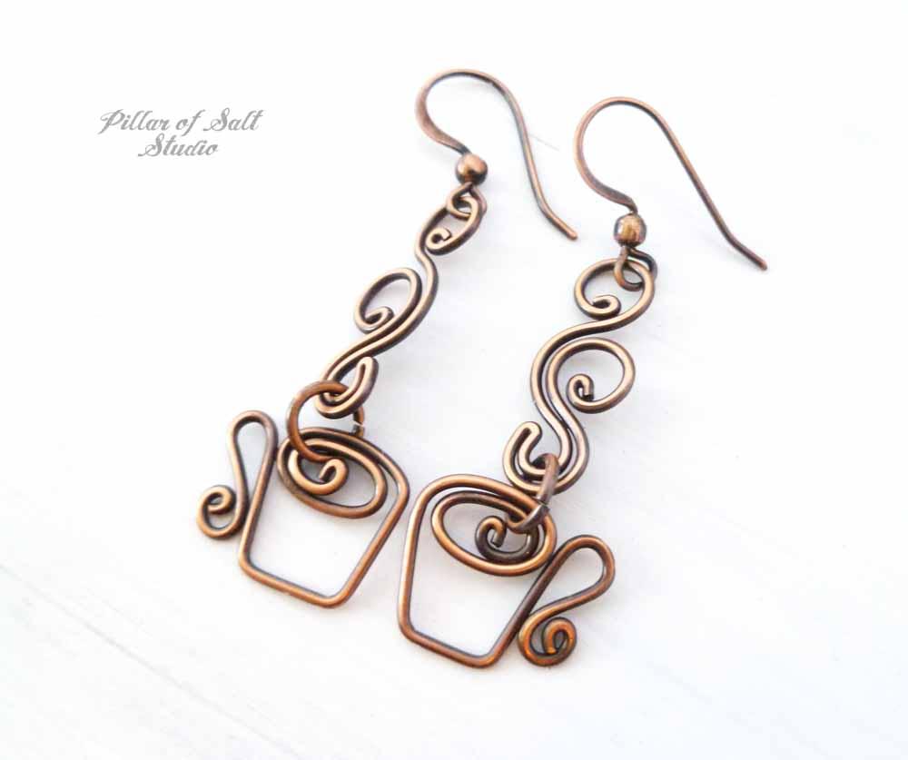 wire wrapped Coffee mug earrings in copper by Pillar of Salt Studio