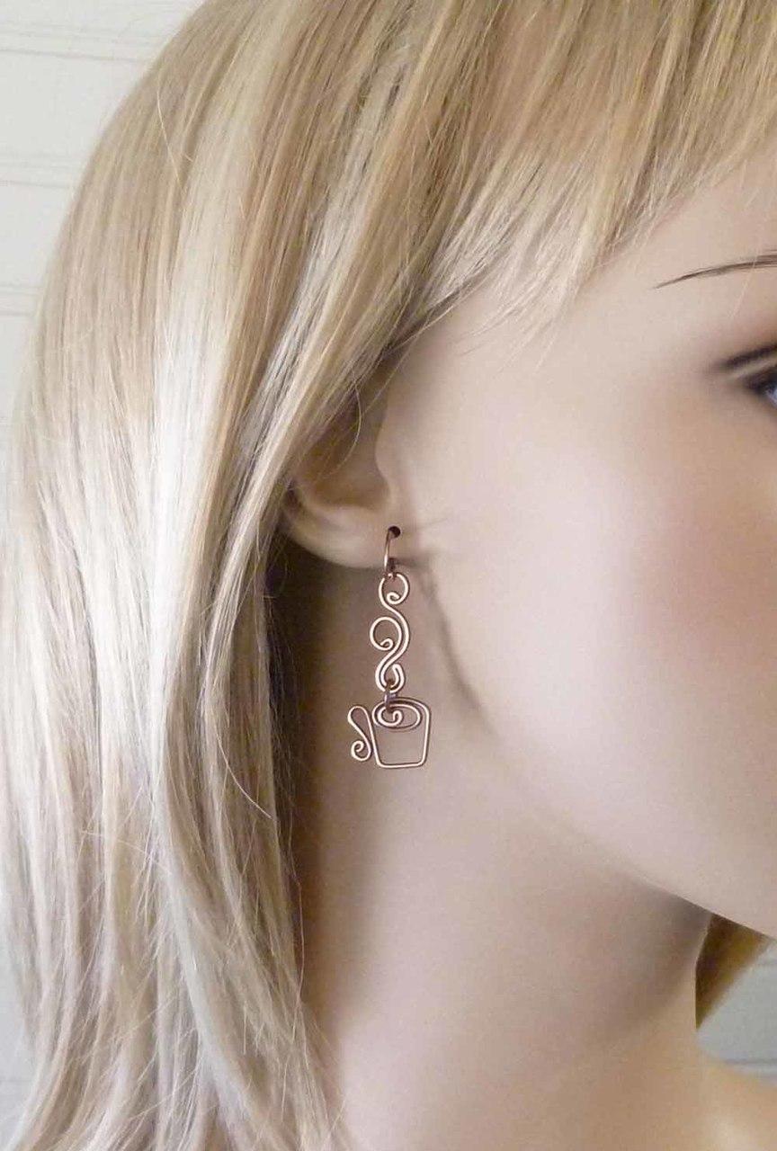 Coffee lover gift idea - coffee mug earrings in copper by Pillar of Salt Studio