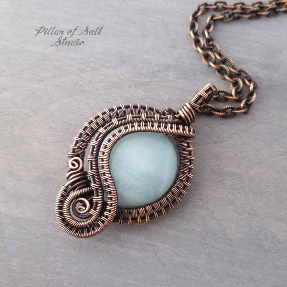 Amazonite woven copper wire wrapped jewelry by Pillar of Salt Studio