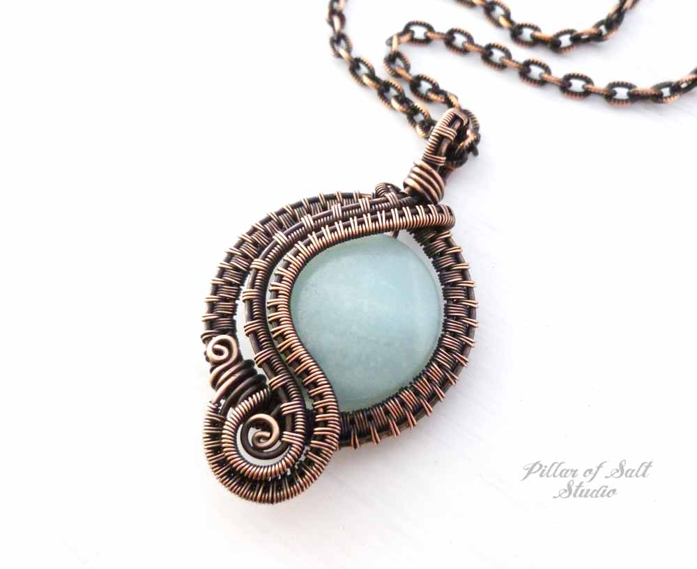 Amazonite wire wrapped pendant necklace