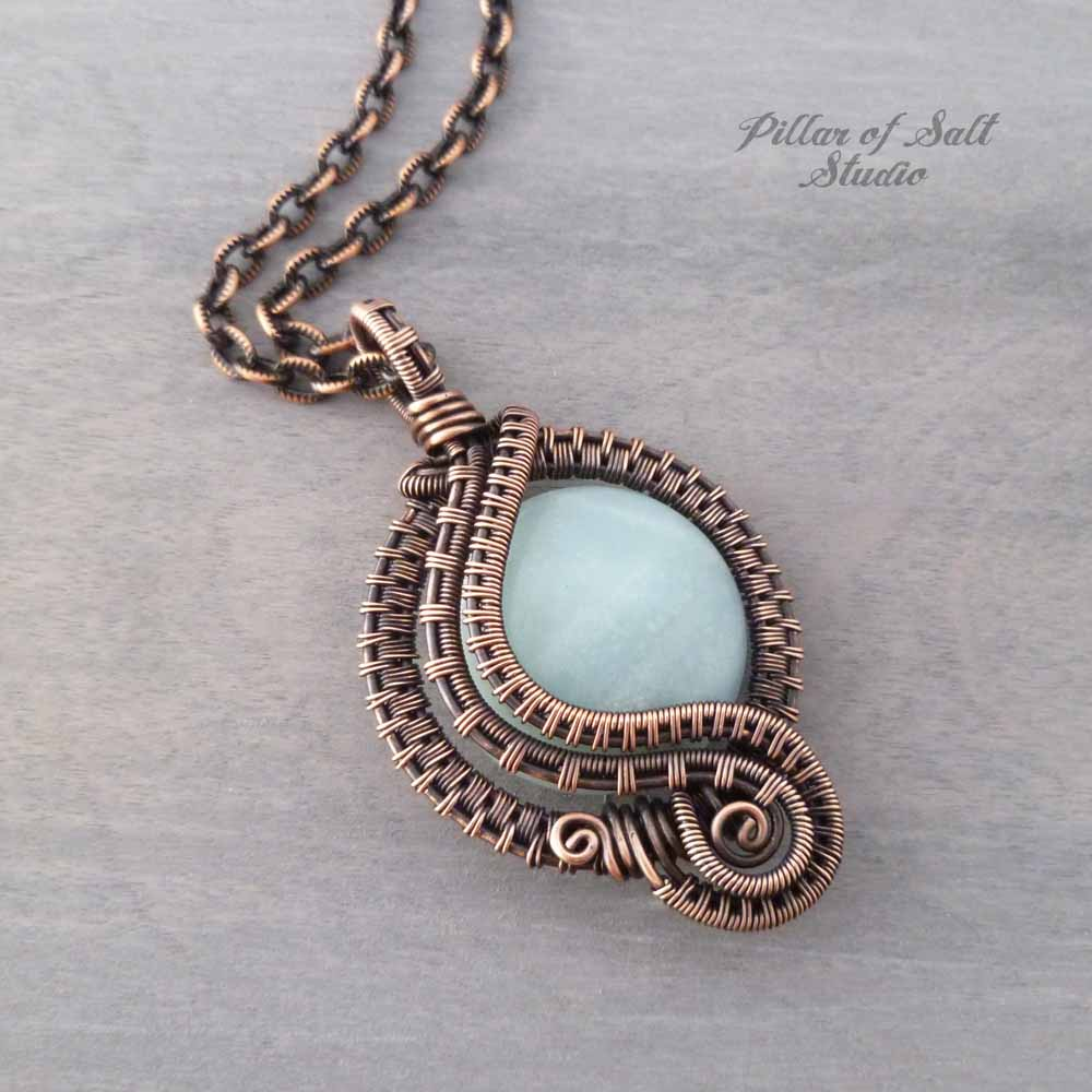 Amazonite woven copper wire wrapped pendant by Pillar of Salt Studio