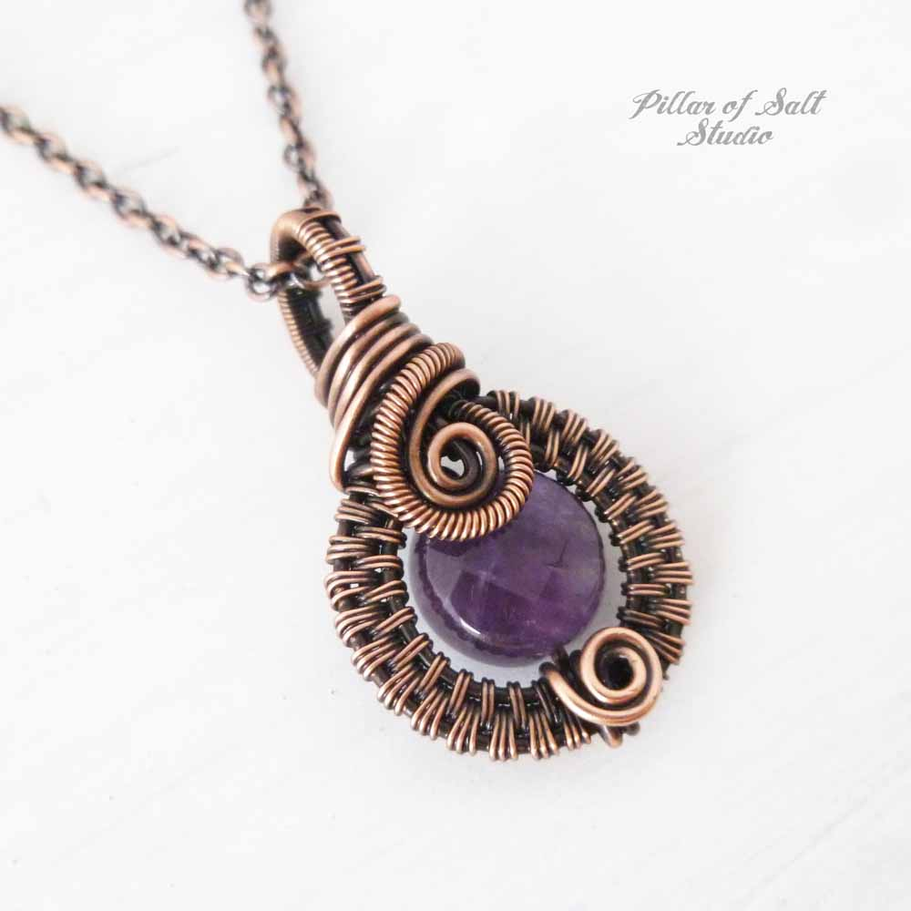 Amethyst woven wire wrapped pendant by Pillar of Salt Studio