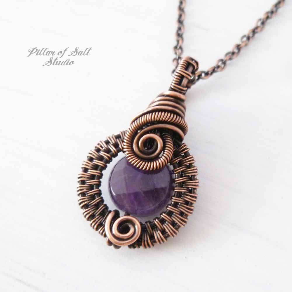 Amethyst woven wire pendant by Pillar of Salt Studio