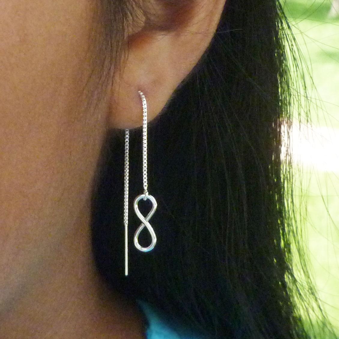 sterling silver Infinity threader earrings