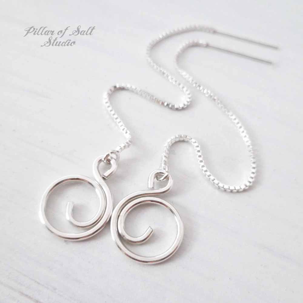 Small Spiral Sterling Silver Threader Earrings