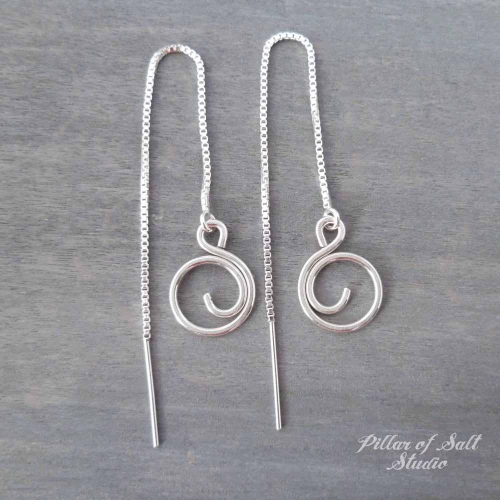 d42e7ac68 small spiral box chain threader earrings by Pillar of Salt Studio Small Spiral  Sterling Silver Threader Earrings ...