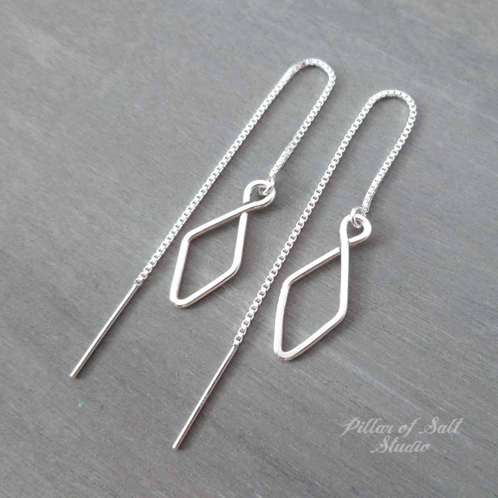 diamond-shaped sterling silver threader earrings by Pillar of Salt Studio