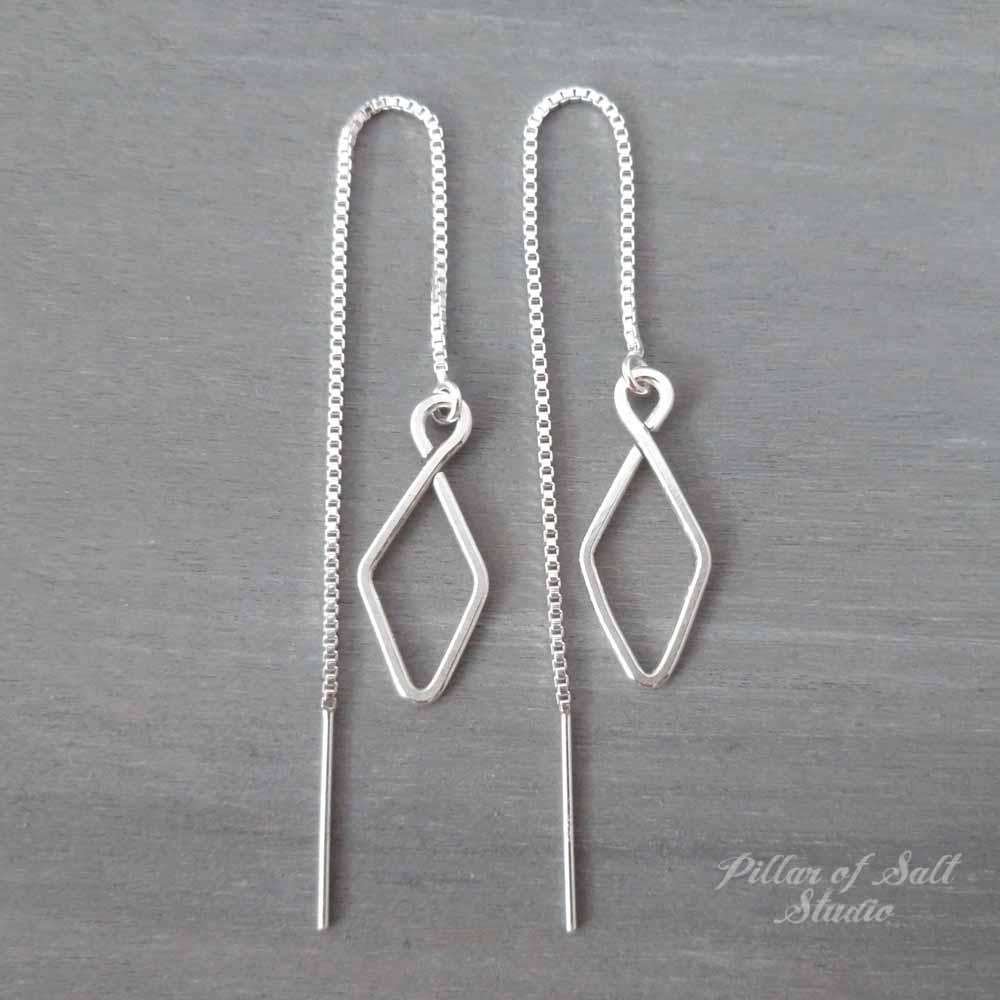Small Diamond-shape Sterling Silver Threader Earrings Worn on All American