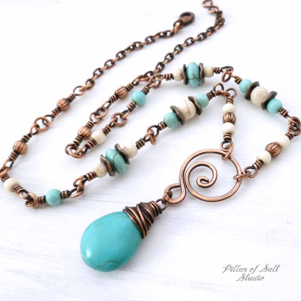 copper and magnesite stone necklace