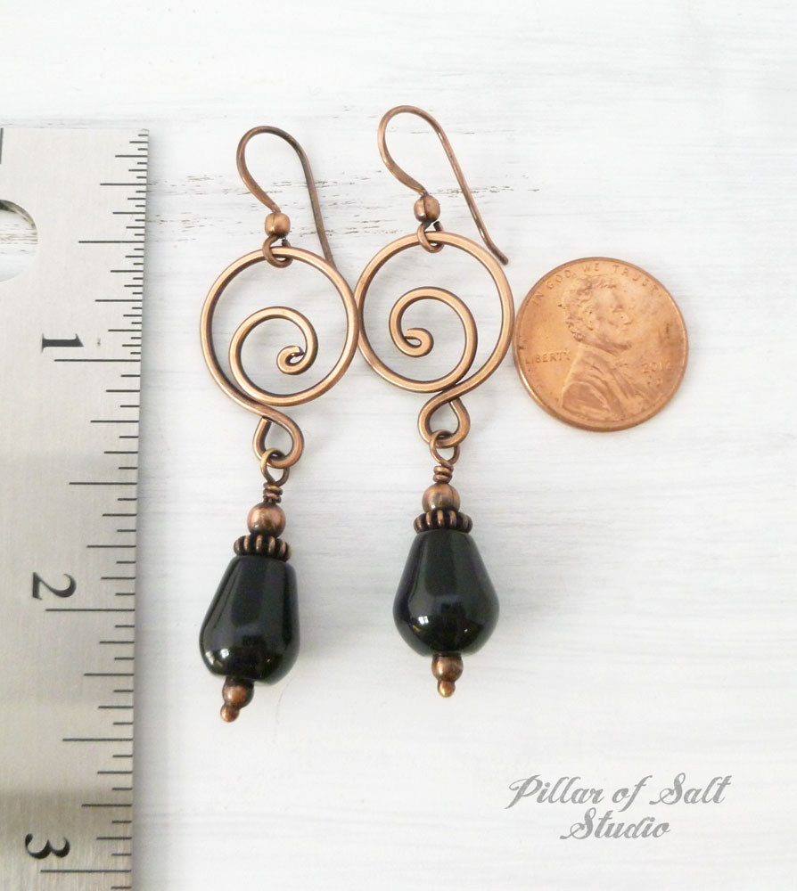 copper wire wrapped jewelry necklace and earring set by Pillar of Salt Studio