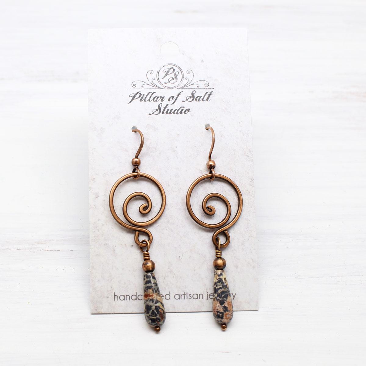 Leopardskin Jasper Copper Spiral Earrings