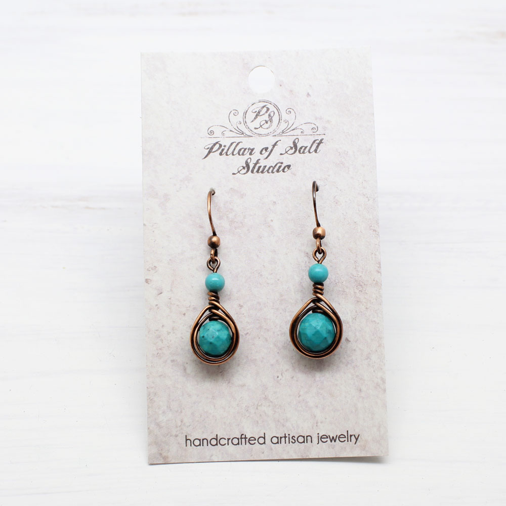 Genuine Turquoise and Copper Earrings
