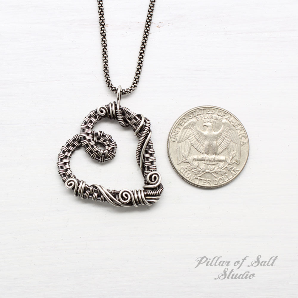 Sterling Silver Woven Wire Heart Necklace