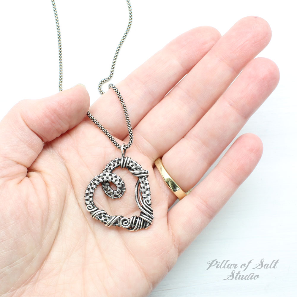 sterling silver wire wrapped heart necklace by Pillar of Salt Studio