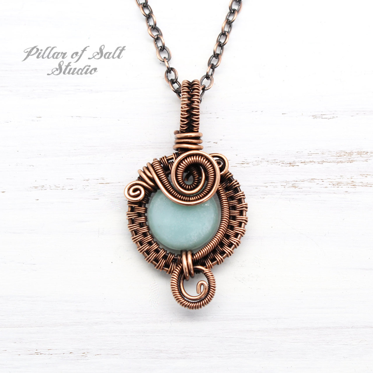 copper wire wrapped jewelry by Pillar of Salt Studio