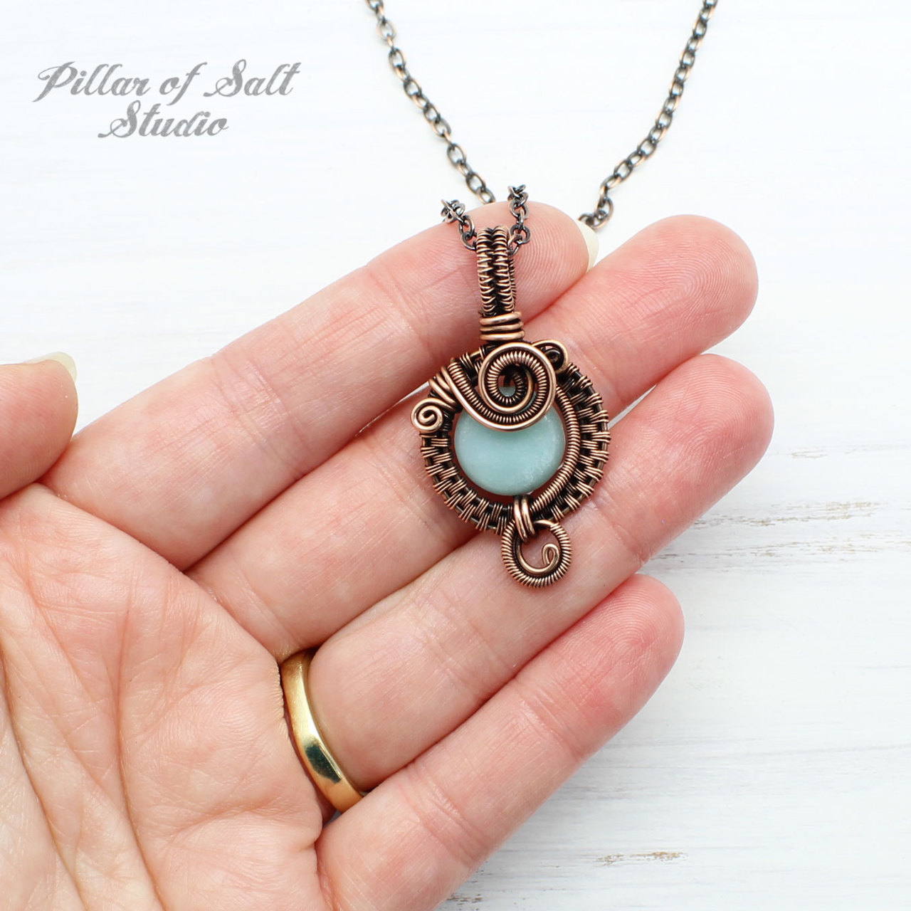Small Blue Amazonite Copper Woven Wire Wrapped Pendant Necklace