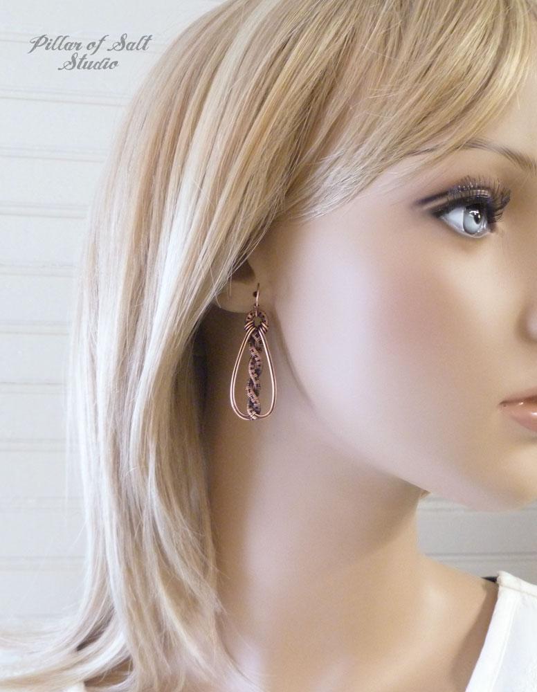 Copper woven wire earrings by Pillar of Salt Studio
