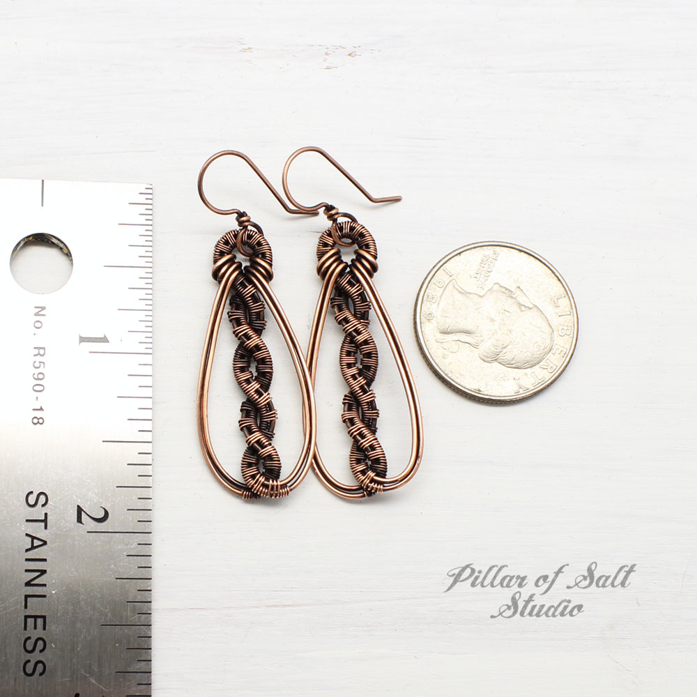 wire wrapped twisted teardrop earrings by Pillar of Salt Studio