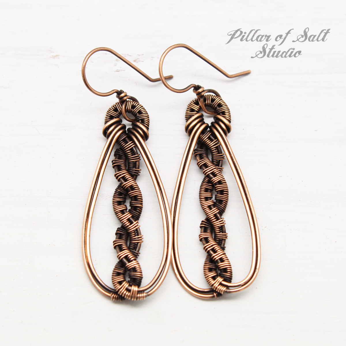 wire wrapped twisted teardrop earrings by Pillar of Salt Studio