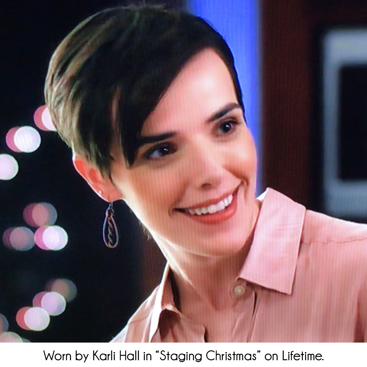"Copper Earrings worn by Karli Hall in ""Staging Christmas"" on Lifetime"