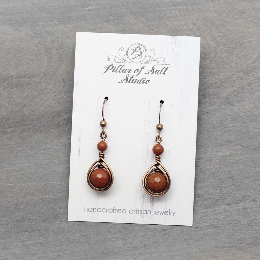 Burnt Orange Red Jasper Copper Earrings