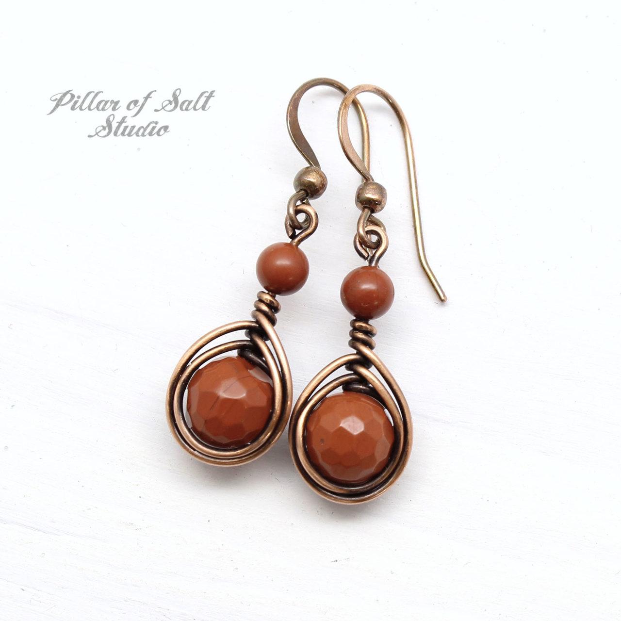 burnt orange red jasper copper wire wrapped earrings by Pillar of Salt Studio