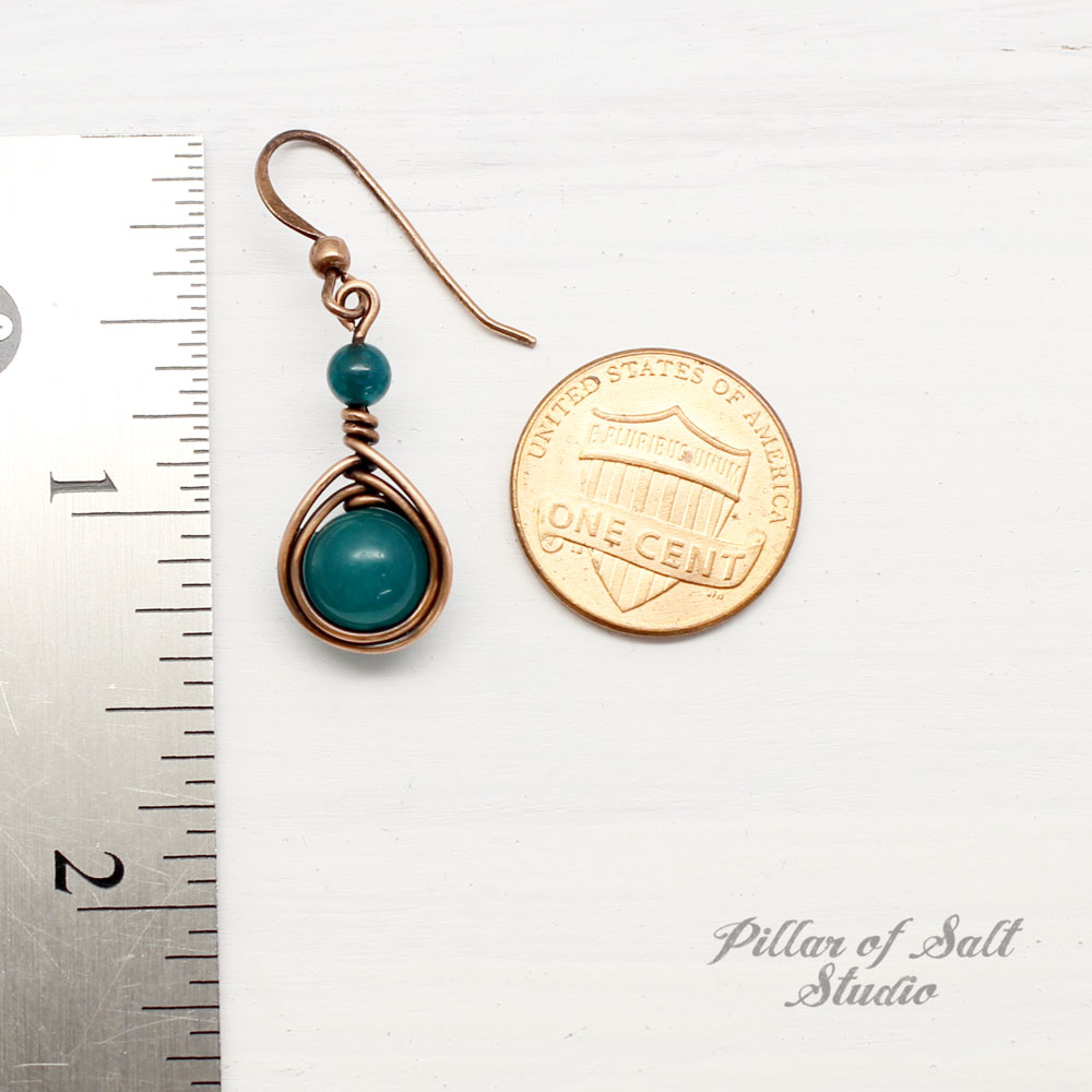 Peacock Green Quartz Copper Earrings