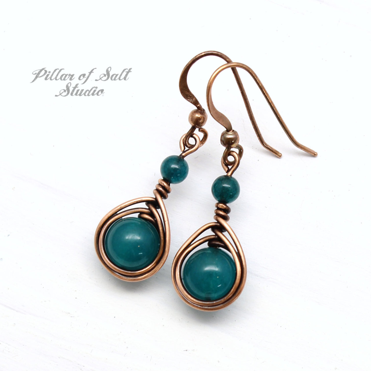 dark teal quartz earrings by Pillar of Salt Studio