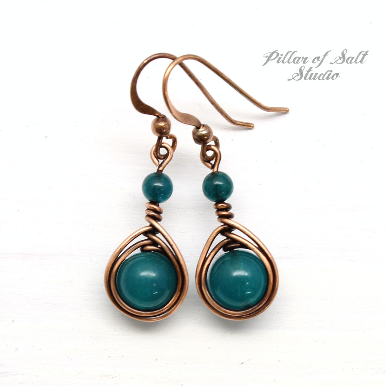 Peacock green quartz earrings by Pillar of Salt Studio