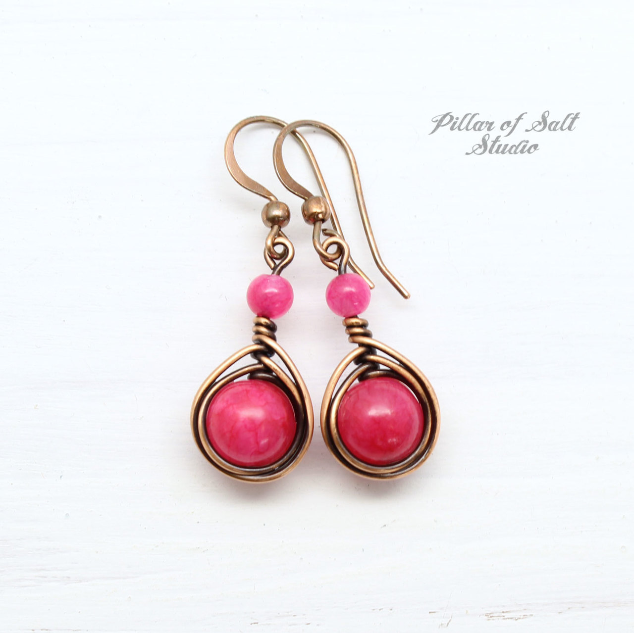 Hot Pink Copper Earrings