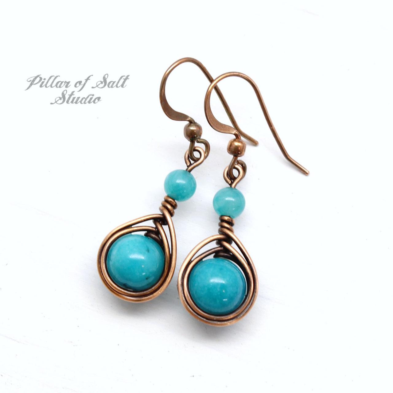 Teal Copper Earrings