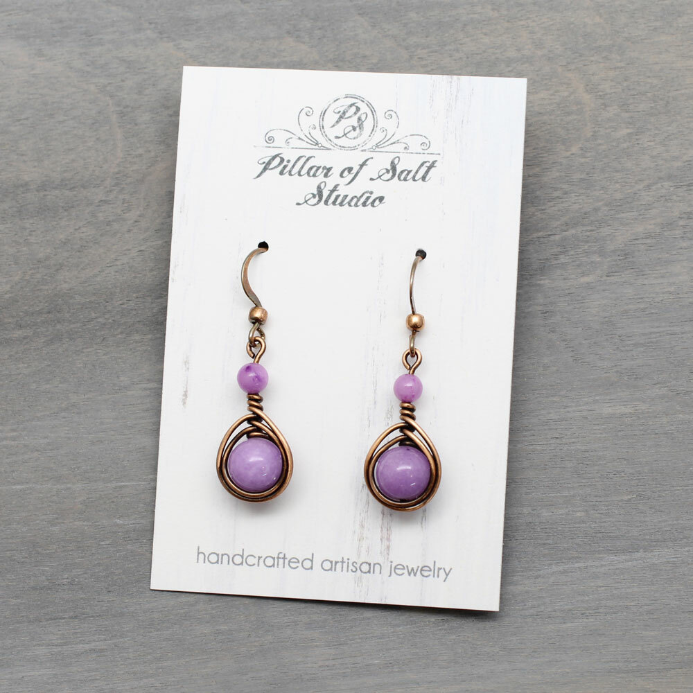 Lavender Copper Earrings