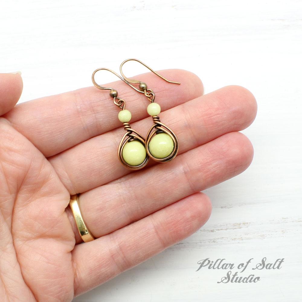 Lemon Yellow Copper Earrings
