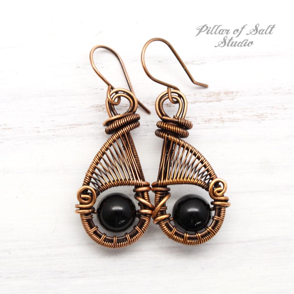Black Onyx copper woven wire earrings