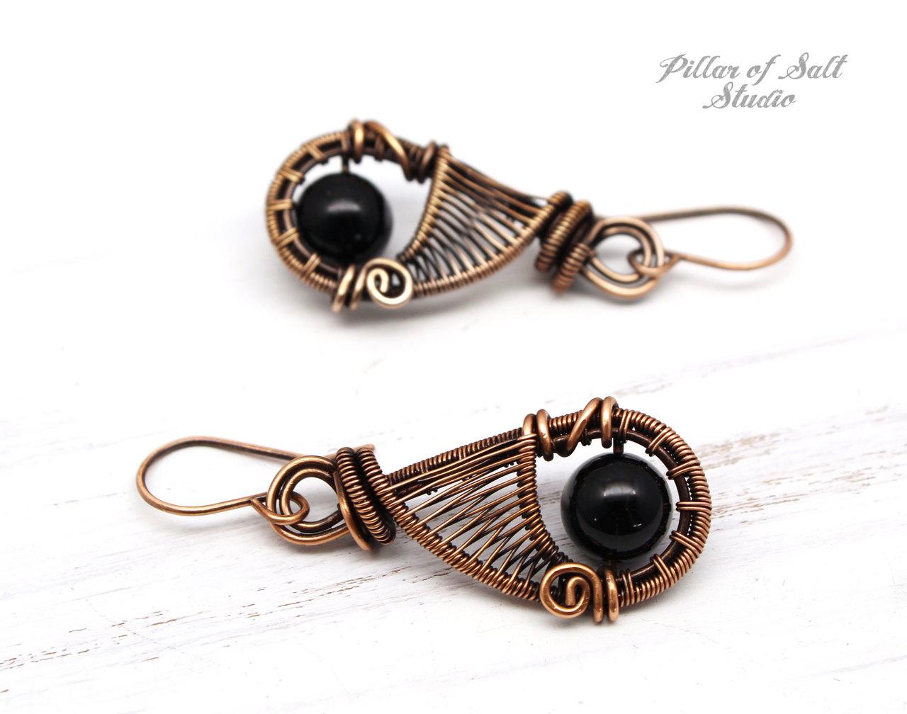 Black Onyx woven copper wire wrapped earrings by Pillar of Salt Studio
