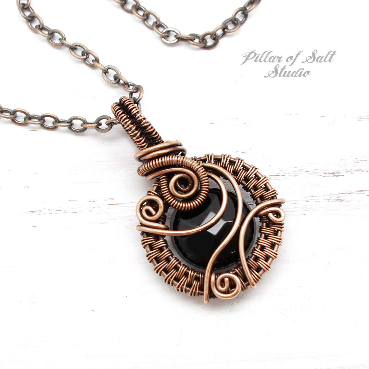 Black Onyx  & Copper woven wire pendant by Pillar of Salt Studio