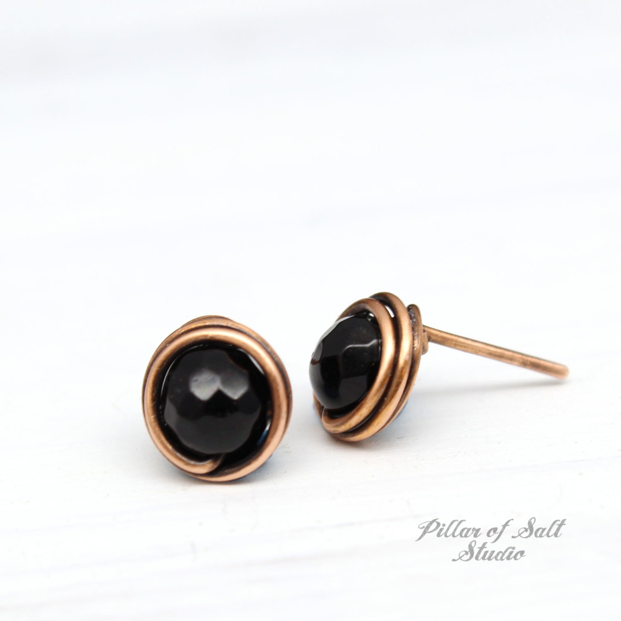 black onyx and copper stud earrings by Pillar of Salt Studio