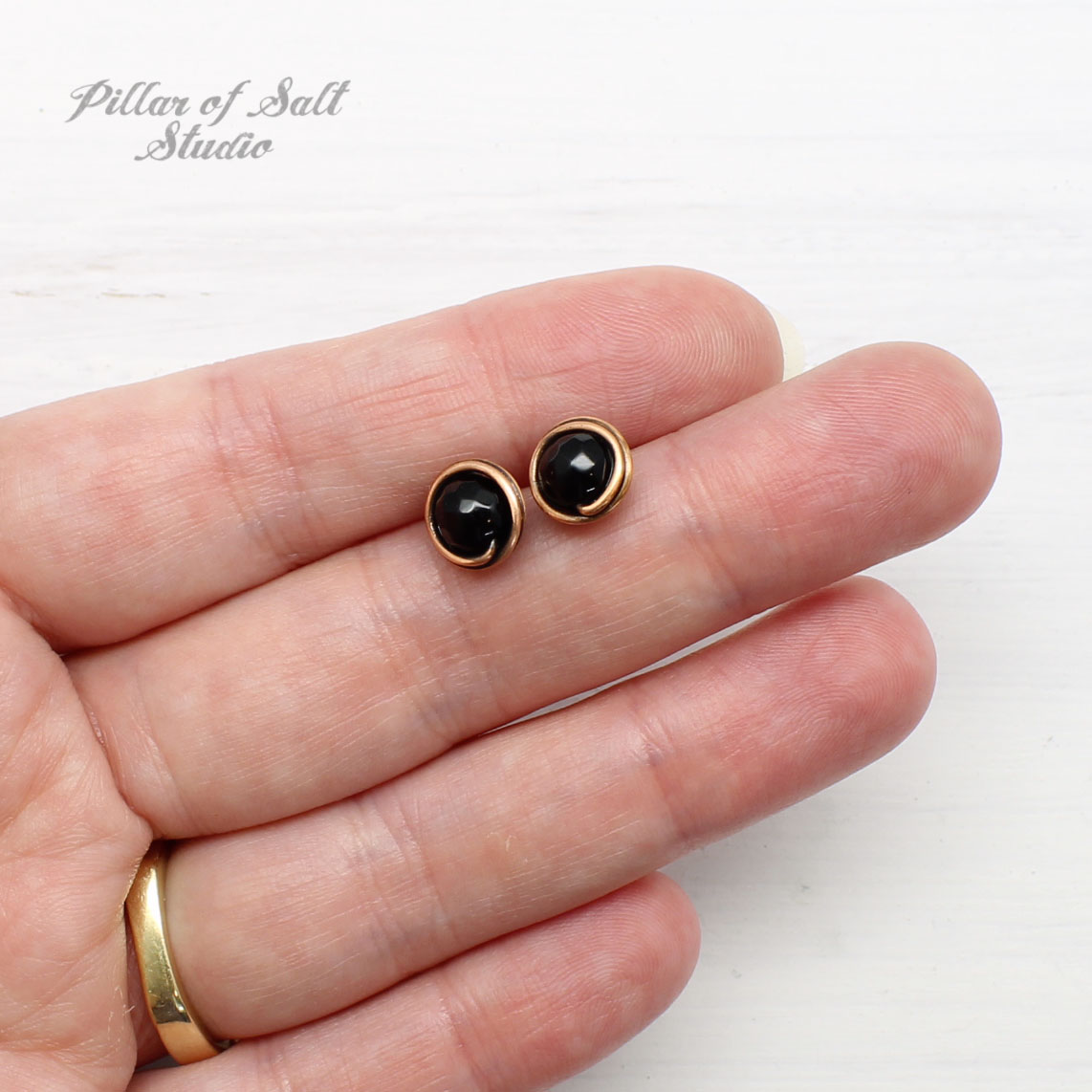 small black onyx and copper stud earrings by Pillar of Salt Studio