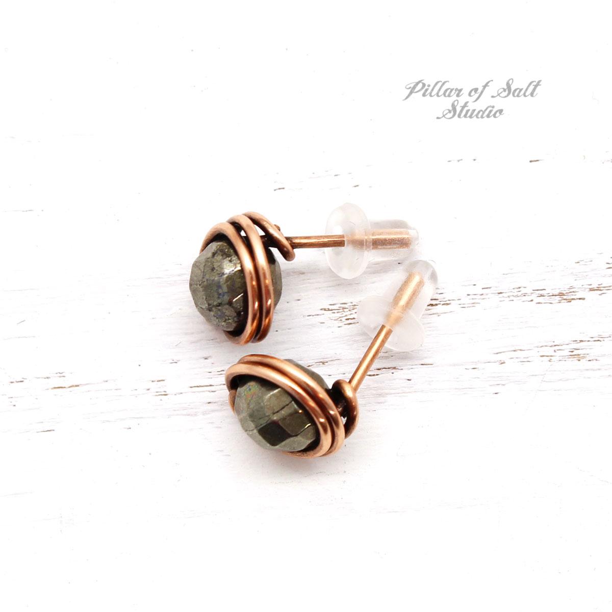 small pyrite copper stud earrings by Pillar of Salt Studio