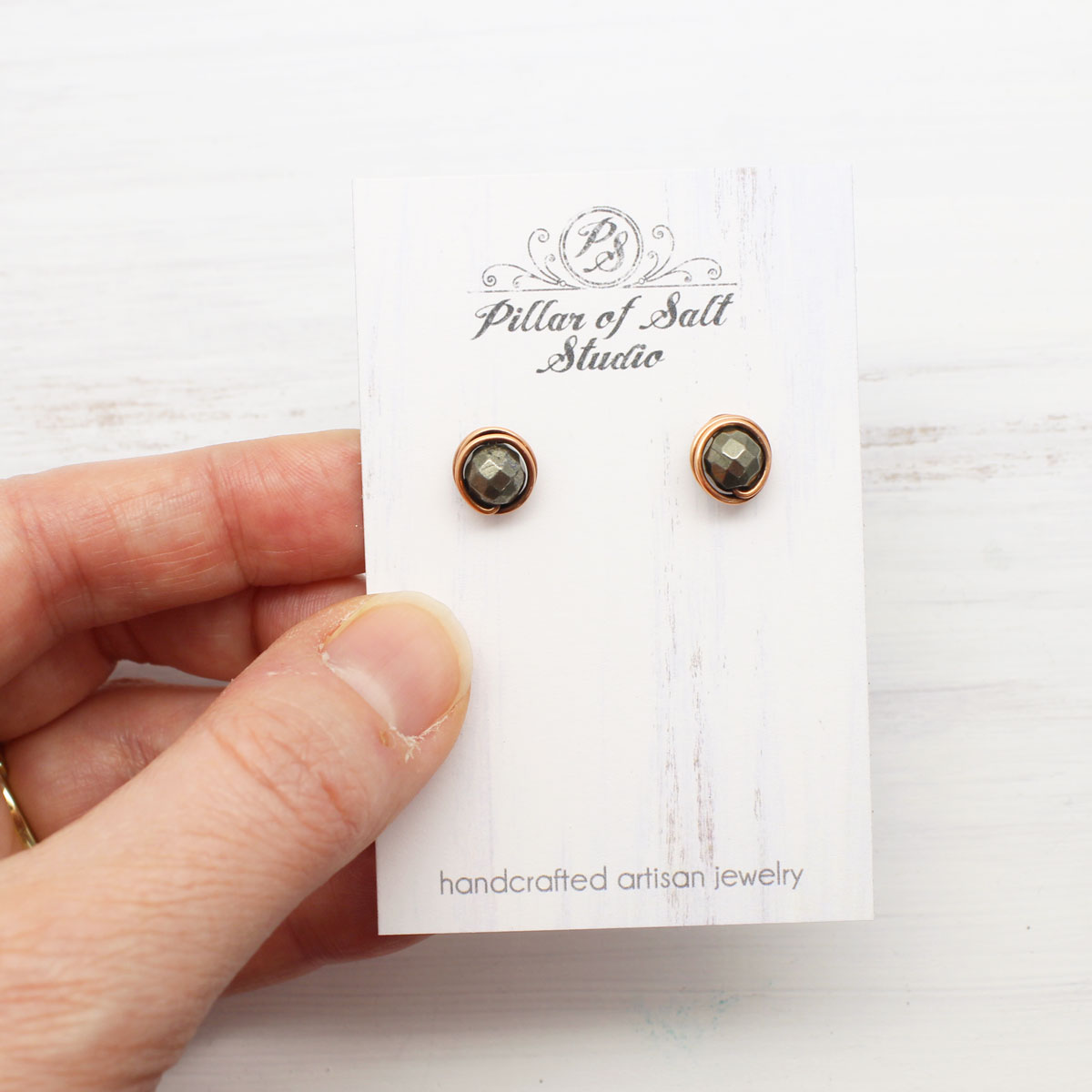 small pyrite copper stud earrings by Pillar of Salt Studio