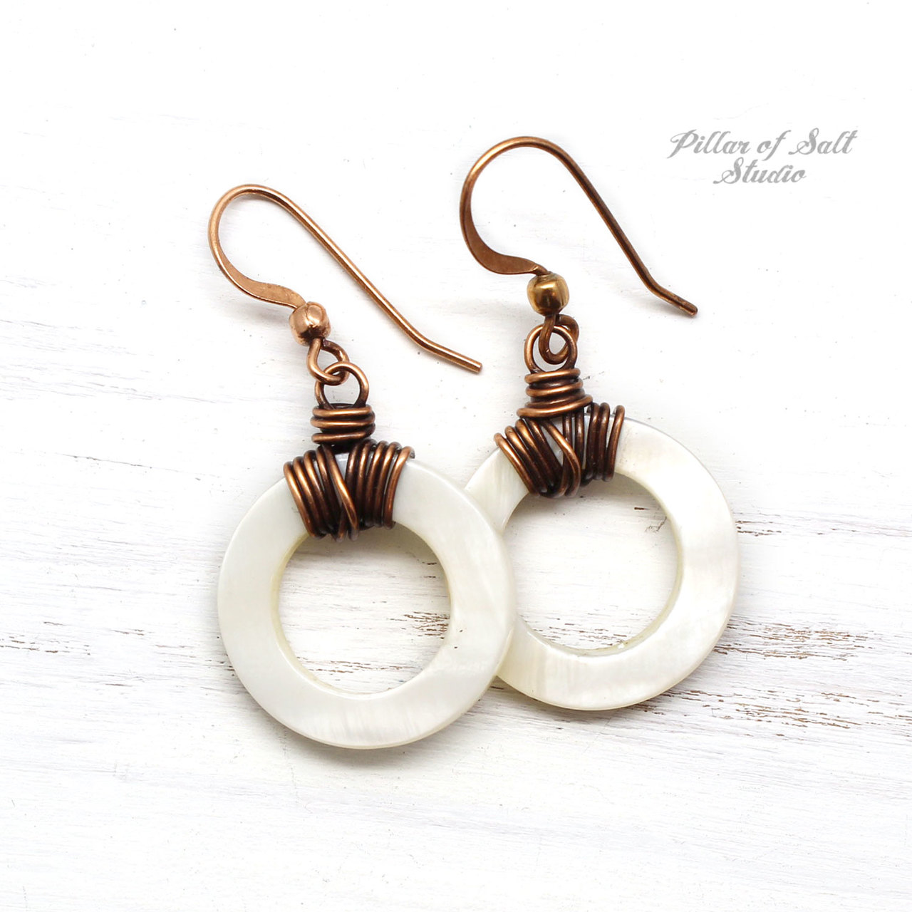 White Mother of Pearl Shell Hoops Copper Earrings