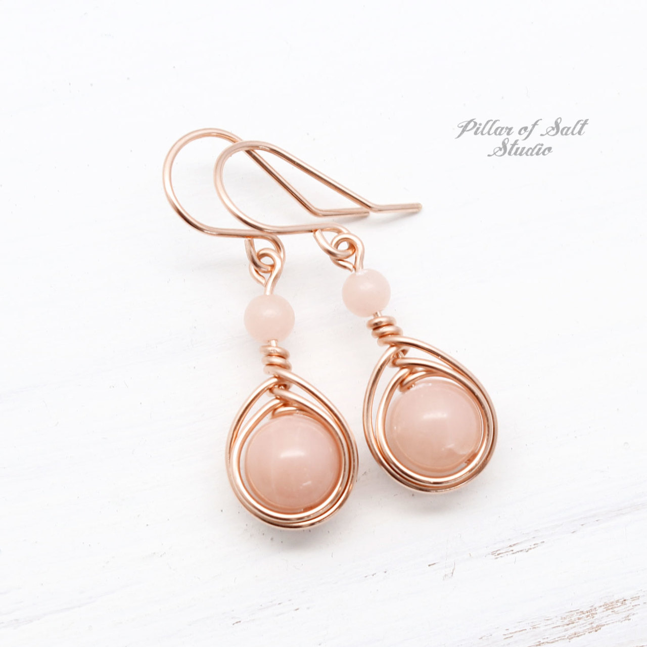 Pink Peruvian Opal Rose Gold Filled Earrings