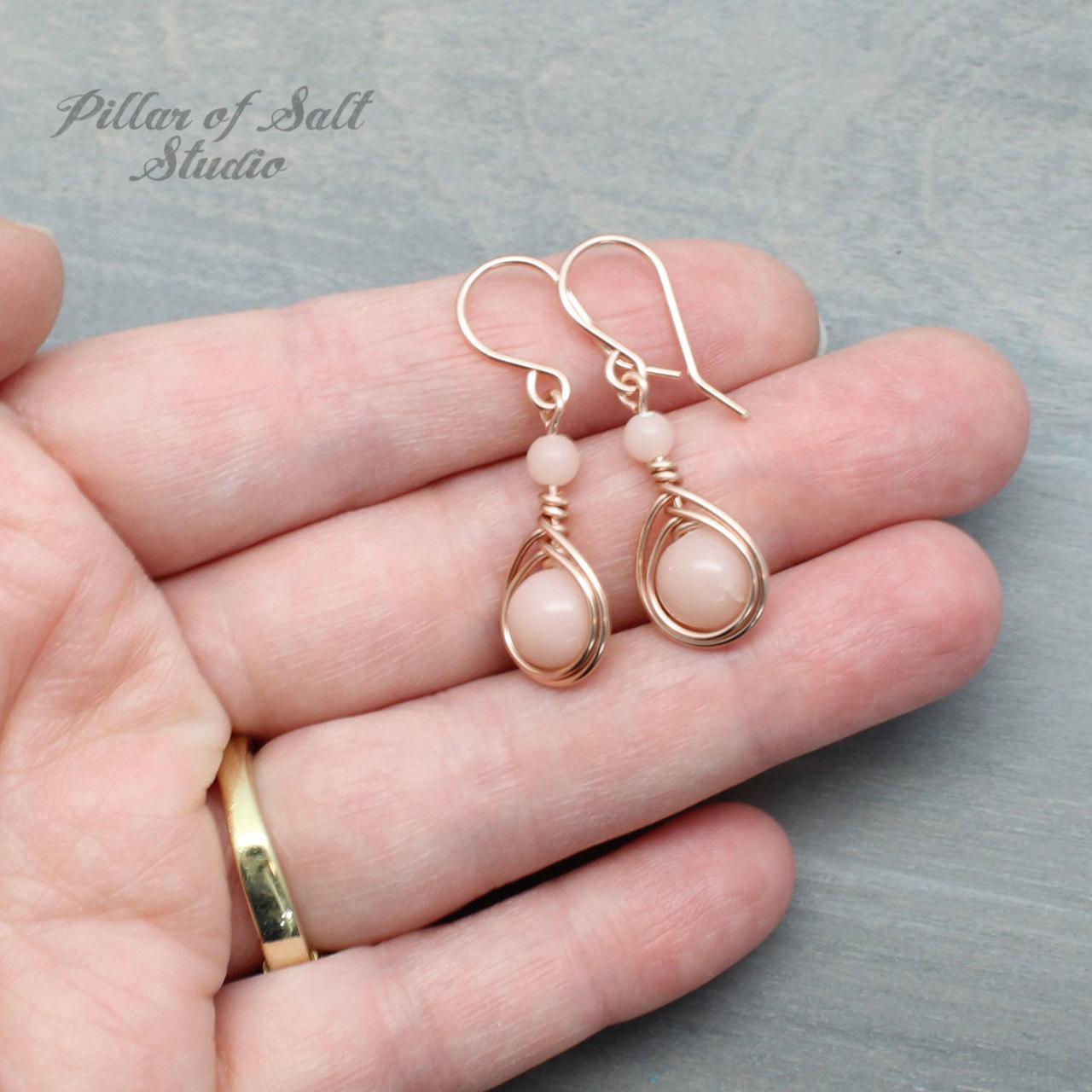 Pink Peruvian Opal Rose Gold Filled Earrings