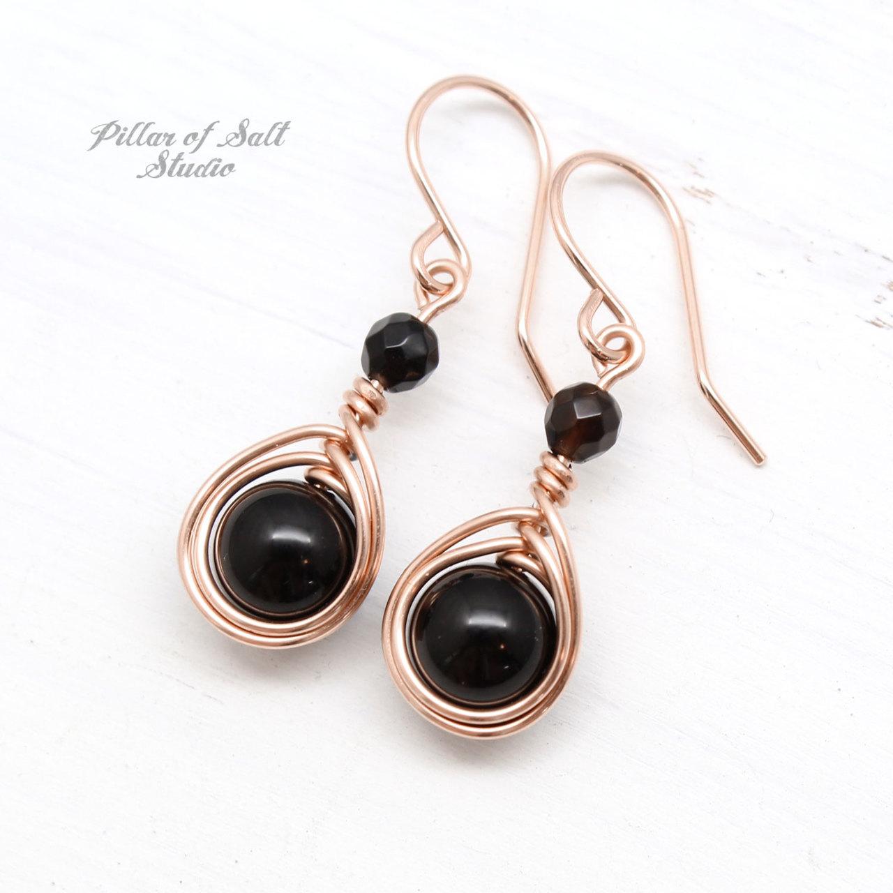 Black Onyx Rose Gold Filled Earrings